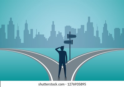 Businessmen standing on the road the crossroad. Concept of important choices of a business. Decide direction. Human standing choice of ways. illustration cartoon vector