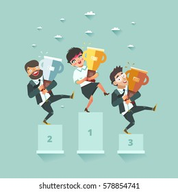Businessmen standing on the winning podium and holding trophy winner cups. Successful business story concept. Business competition. Hackathon. Vector colorful illustration in flat style