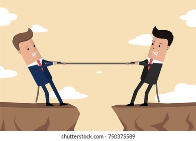 Businessmen in suit pull the rope at edge of cliff . Symbol of competition in business. Corporate conflicts. Vector Illustration