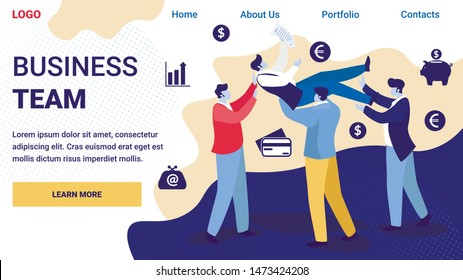 Businessmen Team Tossing in Air Colleague, Congratulation. Office Situation of Business Success. Group of People Celebrating Best Deal Victory Achievement Cartoon Flat Vector Illustration, Banner