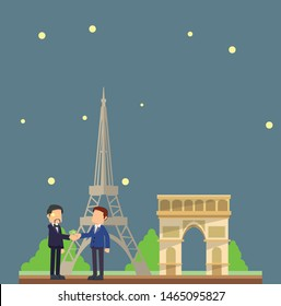 businessmen travel to Paris at night vector