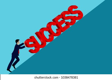 Businessmen are trying to push for more success heavy up the ramp. Business Concept. Creative vector illustration. cartoon. eps10