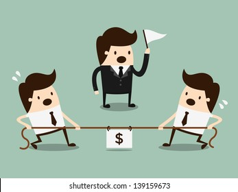 Businessmen in a tug-of-war. competition concept