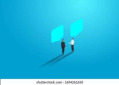 Businessmen two people discuss, meeting chat and dialogue speech bubbles. Vector illustration