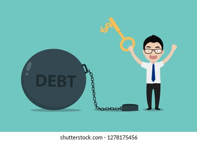 Businessmen use key to unlock chain from gian steel ball with debt message. Concept of Business debt and financial freedom