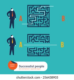Businessmen using different ways to go out from a maze. Vector illustration Eps10 file. Global colors. Text and Texture in separate layers.