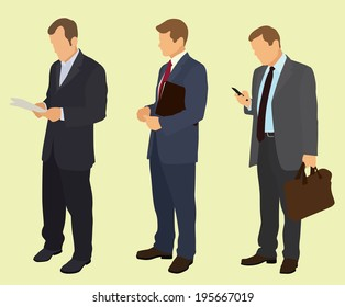 Businessmen Waiting In Line Using Cell Phone or Reading