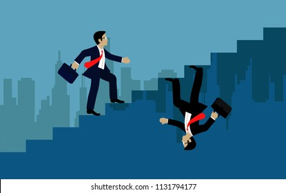 Businessmen walk up to stairs go to goal. The concept of the opposite route. of financial business. illustration vector