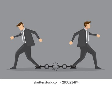 Businessmen walking in opposite direction and breaking the chain link between them. Conceptual vector illustration for bad business relationship or splitting partnership isolated on grey background.