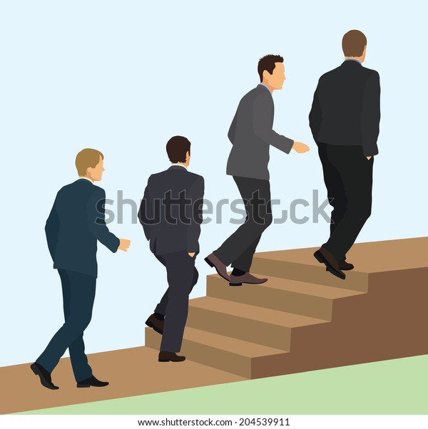 Businessmen Walking Up Stairs