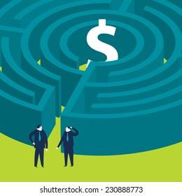 Businessmen wanting to enter a money maze