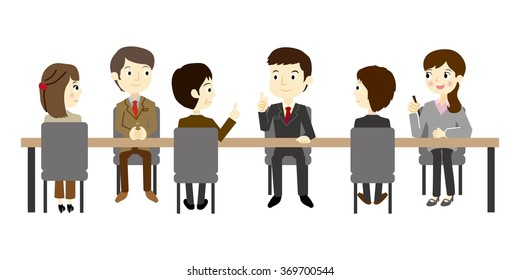 Businessmen who have a team meeting