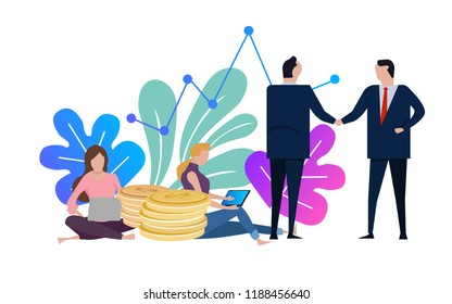 Businessmen and woman shake hands. Business agreement and completed the deal with a handshake. Female working on laptop. Vector illustration.