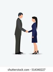 businessmen and women handshake