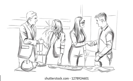 Businessmen and women succesful team shaking hands Vector sketch. Storyboard digital template. Sketch style line arts