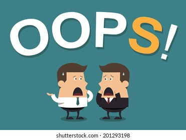 """Businessmen With the Word """"Oops!"""", Business concept"""