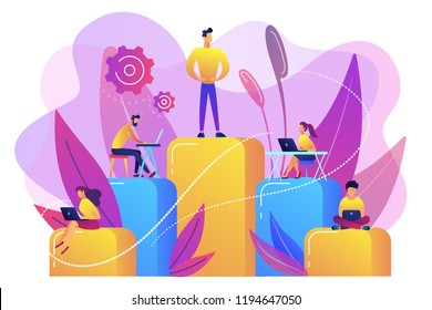 Businessmen work with laptops on graph columns. Business hierarchy, hierarchical organization, levels of hierarchy concept on white background. Bright vibrant violet vector isolated illustration