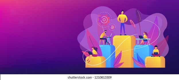 Businessmen work with laptops on graph columns. Business hierarchy, hierarchical organization, levels of hierarchy concept on white background. Header or footer banner template with copy space.