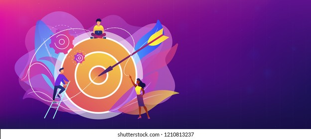 Businessmen working and woman at big target with arrow. Goals and objectives, business grow and plan, goal setting concept on white background. Header or footer banner template with copy space.