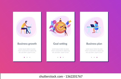Businessmen working and woman at big target with arrow. Goals and objectives, business grow and plan, goal setting concept on white background. Mobile UI UX GUI template, app interface wireframe