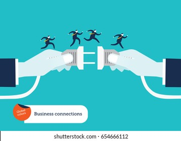 Businessmen's hand connecting socket and plug with businessmen running on top of it