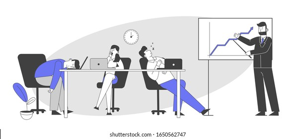 Businesspeople Boring at Meeting or Presentation. Businessman Explain Company Strategy or Data Analysis Stand at Whiteboard, Boring Employees Sleeping at Desk. Cartoon Vector Illustration Line Art
