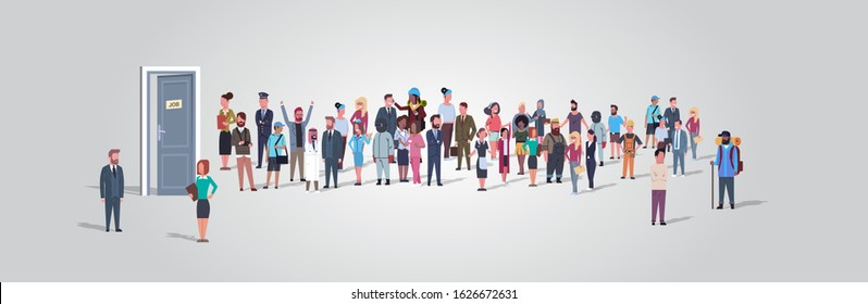 businesspeople candidates standing in line queue to door office hiring job employment concept different occupation workers group waiting for interview horizontal full length vector illustration