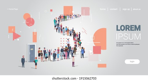 businesspeople candidates standing in line queue to door office hiring job employment concept different occupation workers group waiting for interview horizontal full length copy space vector