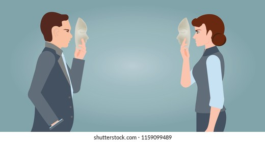 Businesspeople carrying mask to his body indicating business fraud and faking business partnership, hide real feeling or face behind mask, conceptual in hypocrisy vector illustration.