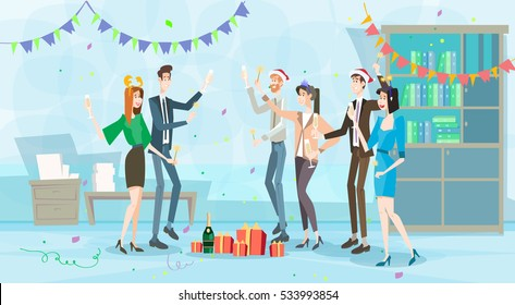 Businesspeople Celebrate Merry Christmas And Happy New Year Business People Team Santa Hat Flat Vector Illustration