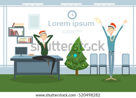 cf6f778e47891 Businesspeople Celebrate Merry Christmas And Happy New Year Office Business  People Team Santa Hat Flat Vector