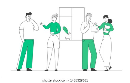 Businesspeople Colleagues or Friends Communicating Indoors. Young Men and Women Chatting and Communicate in Office or at Home. Business Characters Discussion Cartoon Flat Vector Illustration, Line Art