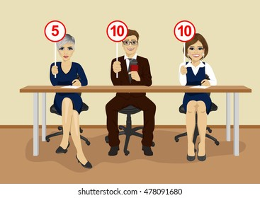 businesspeople in conference showing score cards