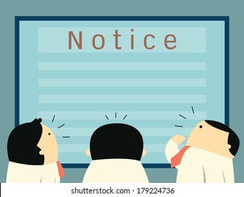 Businesspeople crowd around and looking notice board, cute character businessman cartoon with copy space for your text and design.