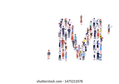 businesspeople crowd gathering in letter M shape English alphabet concept mix race men women casual people group standing together full length horizontal