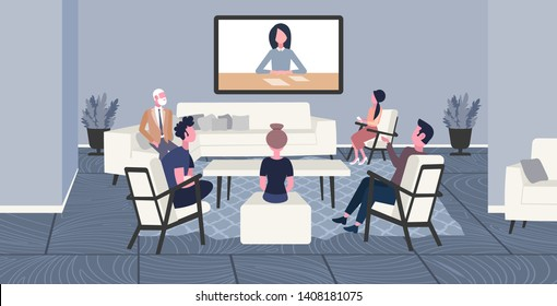 businesspeople doing video conferencing colleagues having online business meeting web conference concept office workers group discussing co-working center interior sketch horizontal