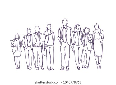 Businesspeople Group Hand Drawn Moving Forward Over White Background, Team Of Sketch Business People Vector Illustration