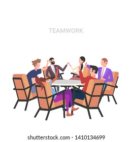 businesspeople group having meeting sitting at round table brainstorming colleagues raising hands successful teamwork concept white background flat full length