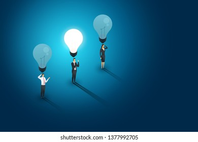 Businesspeople group standing under lightbulb but one person creative concept solution and succes. Flat isometric illustration vector