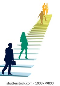 Businesspeople in a hurry. Successful people are climbing the stairs, a corporate rat race.
