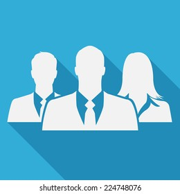 Businesspeople icon on blue background