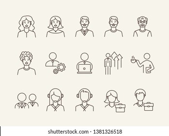 Businesspeople icons. Set of line icons on white background. Coffee break, manager, employee. Office workers concept. Vector illustration can be used for topics like business, career, employment