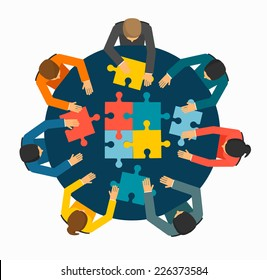 Businesspeople joining puzzle pieces on table, vector illustration