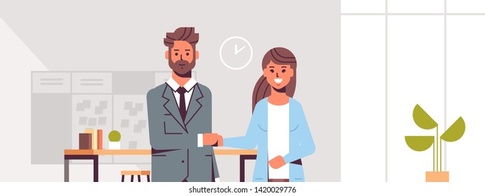 businesspeople man woman handshaking business partners couple hand shake during meeting agreement partnership concept modern co-working center office interior flat portrait horizontal