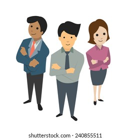 Businesspeople, man and woman, standing together in teamwork concept, bird's-eye view. Flat design.