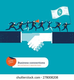 Businesspeople on handshake with a leader with 100 dollar flag. Vector illustration Eps10 file. Global colors. Text and Texture in separate layers.