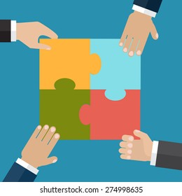 Businesspeople put four jigsaw puzzle pieces together. The team support and help concept. Vector illustration