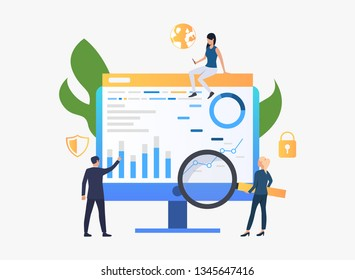 Businesspeople researching charts vector illustration. Statistics, analysis, diagrams. Marketing concept. Creative design for layouts, web pages, banners