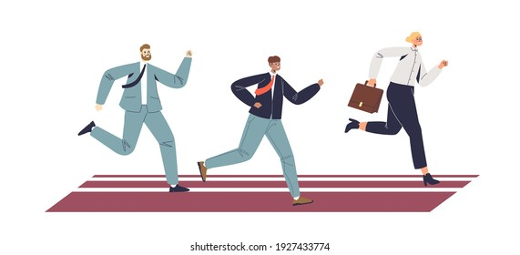 Businesspeople running. Business competition and leadership concept. Group of businessmen racing for success. Cartoon flat vector illustration