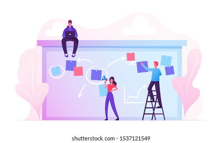 Businesspeople Scheduling Work on Agenda Schedule Task Board with Sticky Notes Standing on Ladder. Business People Planning Teamwork Events in Office Interior Concept Cartoon Flat Vector Illustration